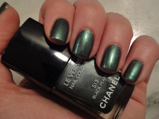 Chanel Black Pearl w/ CND Emerald Shimmer