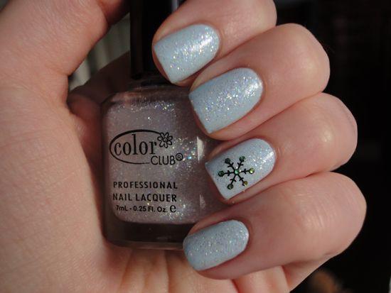 Avon Vintage Blue w/ Color Club Snowflake