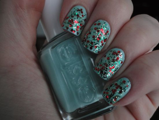 China Glaze Party Hearty over Essie Mint Candy Apple, indirect light
