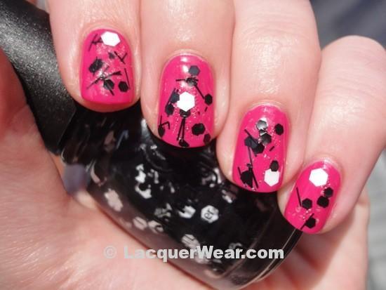 China Glaze Whirled Away w/ Dior Pink Graffiti
